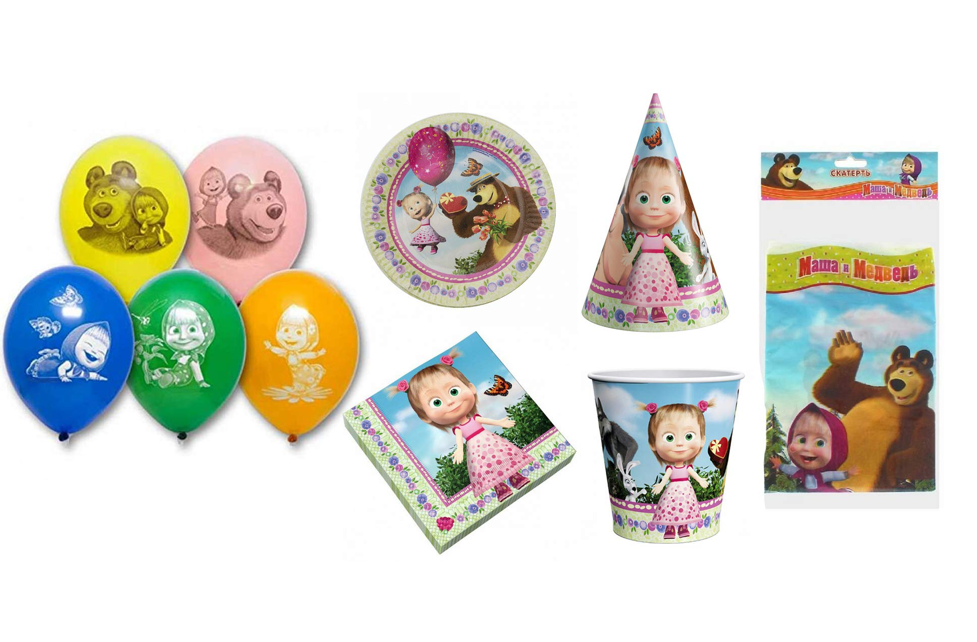 Masha and the Bear Set for Children's Holiday Cartoon Characters Supplies Party Ware Hats Pipes Plates Tablecloth Cup Balloon Napkins hat