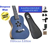 "Kalena Factory Direct Ukulele with instruction book, strap, tuner,strings, felt picks, complete set (24"" Concert Hibiscus, Deepsea Blue)"