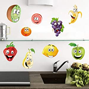 ufengke Fruit Kitchen Wall Stickers Banana Lemon Apple Emoji Wall Decals Art Decor for Kids Nursery Dining Room