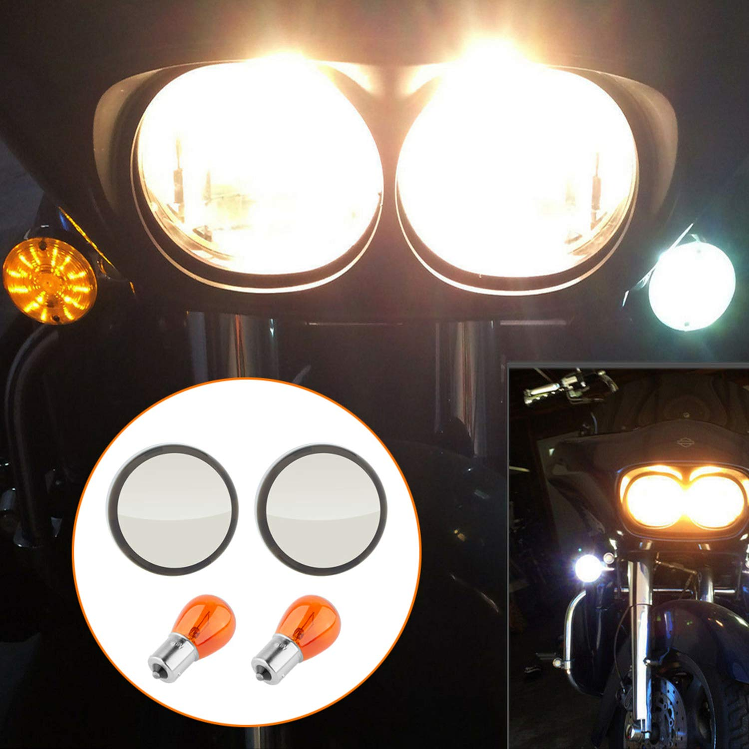 CICMOD Motorbike 1156 Turn Signal Indicator Light Bullet Amber Bulb Smoked Lens Covers Pack of 2