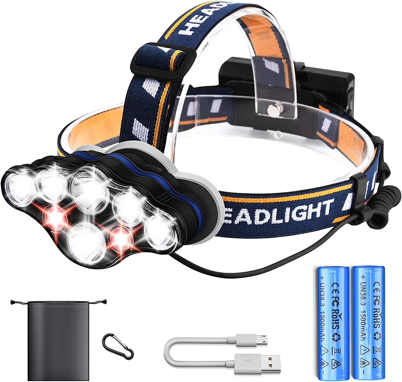 USB Sensor Head Light Torch Headlamp Headlight Lamp Rechargeable Lumens Torches