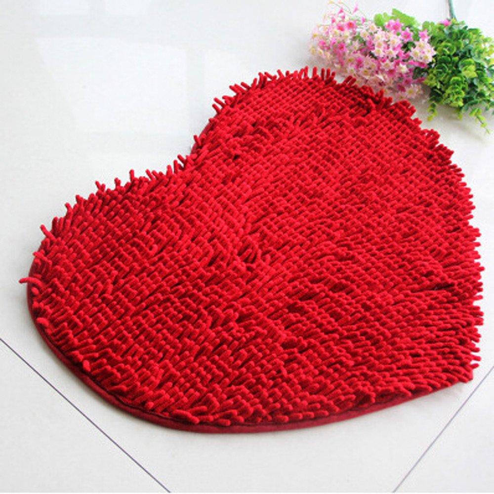 Berryhot 19.723.7 Soft Shaggy Non Slip Absorbent Bath Mat Bathroom Shower Rugs Carpet Heart Shaped Decorative Super Soft Rugs Carpet Red, 19.723.7