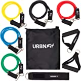 Resistance Bands Set (12 Piece) Includes Door Anchor, Ankle, Wrist Strap, Exercise Guide and Carrying Bag For Strengthening a