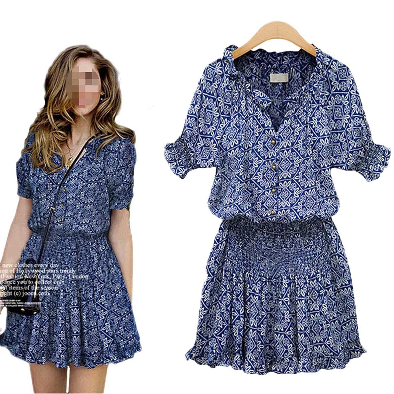 Antemi - Damen - Kurzes Kleid Sommer bshmische Weinlese - Blau - Grobe M