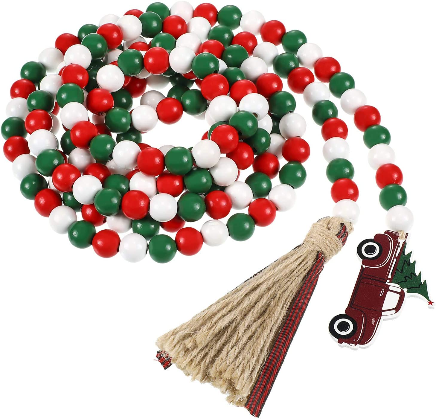 9 Feet Christmas Wooden Bead Garland Buffalo Plaid Rustic Tassels and Red Truck Tag BeadedTasselGarland Red White Green Natural Beads Garland for Christmas TreeHoliday Ornaments Decor Farmhouse