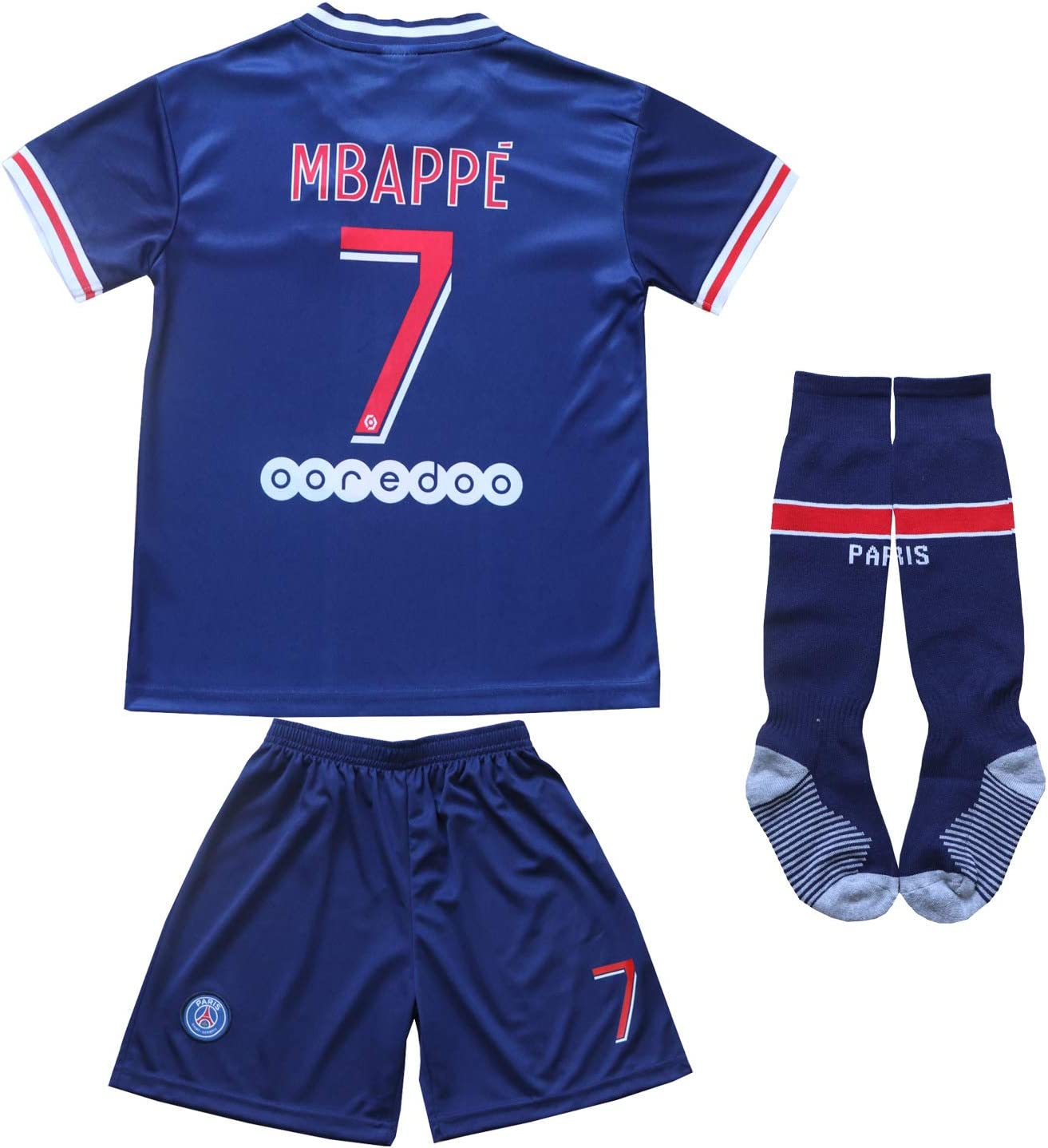 KID BOX Paris Home Football Soccer Kids Jersey Shorts Socks Set Youth Sizes