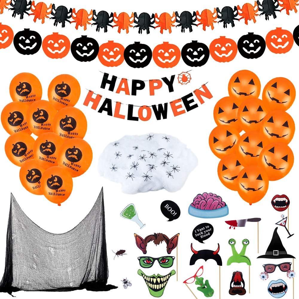 CENOVE 65Piezas Juego de Decoración de Halloween Accesorios, 3 Banner de Feliz Halloween, Telaraña Blanca, Tela Espeluznante, 20 Globos Naranjas, 20Arañas y 20 Accesorios para Fotos