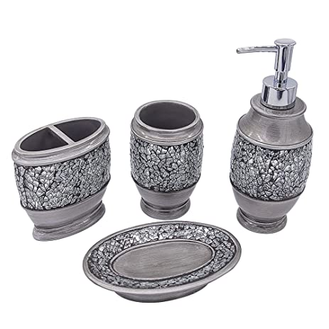 Bathpro Mosaic Bathroom Accessories Shower 4 Piece Set Silver Bath Amazon  Com .