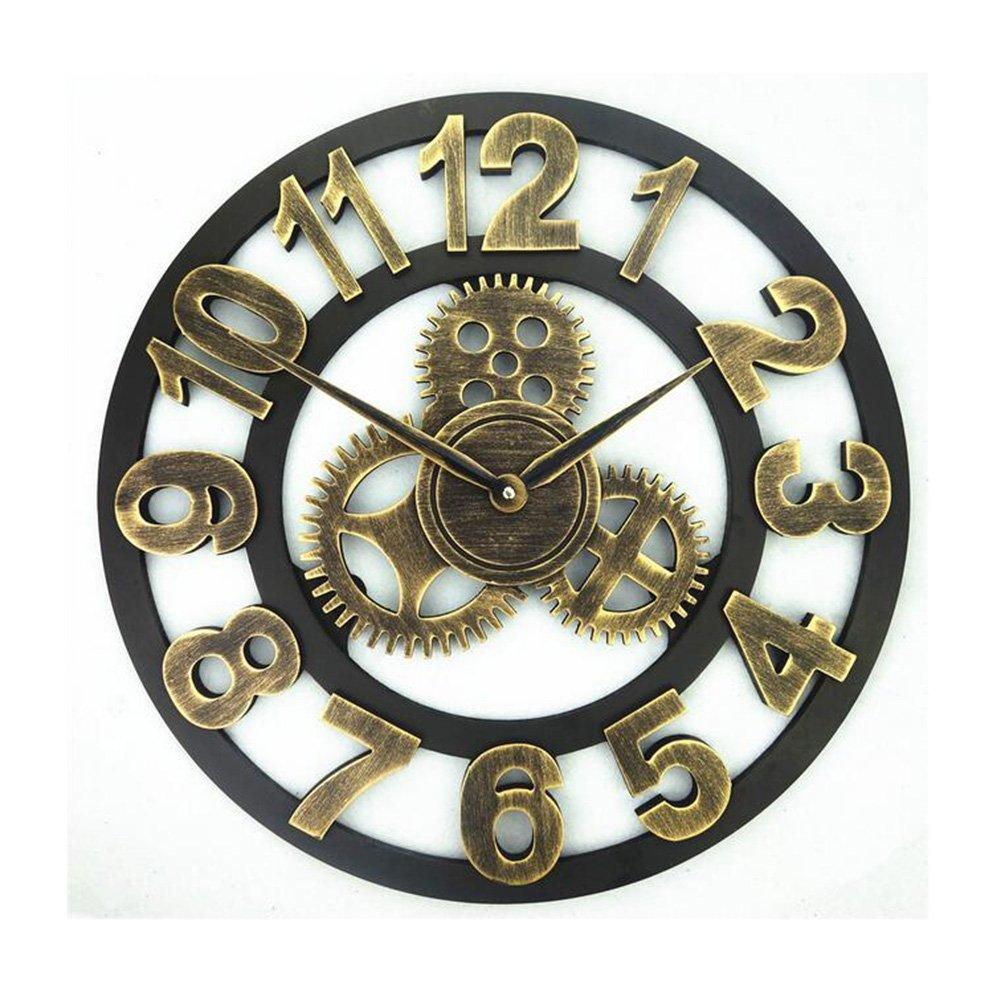 ウォールクロック、アンティーク手作りの木製のヴィンテージ3Dギアのデザインミュートの壁時計のホームバーの装飾 (色 : A, サイズ : 40cm) B07DPC2VMS 40cm|A A 40cm