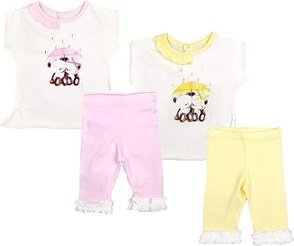 Conjunto de camiseta y pantalón para niña de bebé con leggings, conjunto de leggins, pantalones cortos de algodón Amarillo (S 1004). 68 cm: Amazon.es: Ropa y accesorios