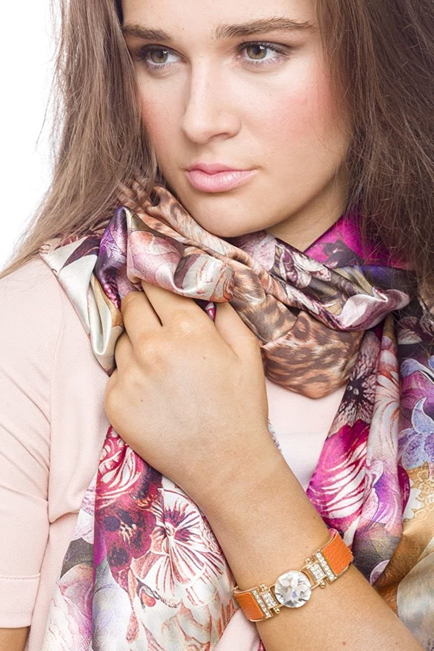 Women s Fashion Lightweight Double Face Floral And Leopard Print Neck Scarf  Wrap Shawl Accessory New Summer 4794ecacc