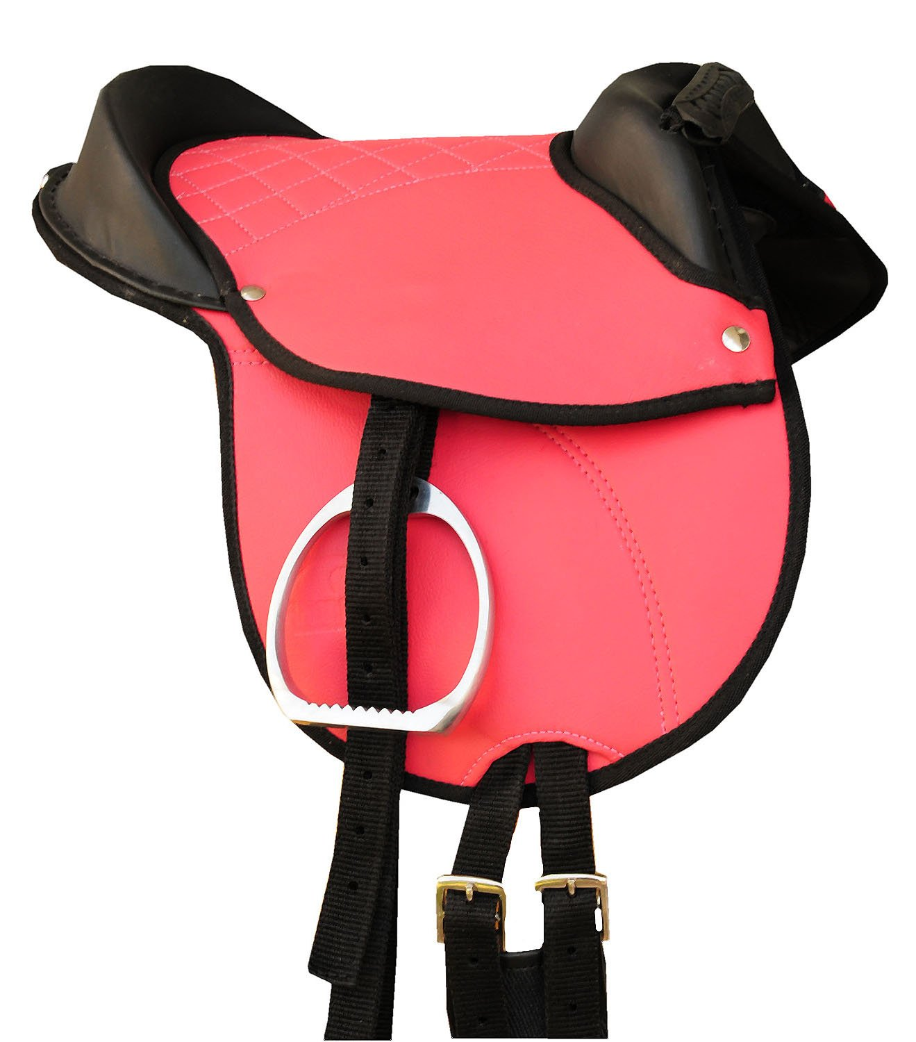 'Horse saddle Shetland Pony Hide Covered Pony Pad Saddle Pony Riding Cushion with Accessory Complete Set Matching Pink 10 | Pony Saddle Set Suitable Reitpad also for Wood Horses Cub Saddle Set Reitsport Amesbichler