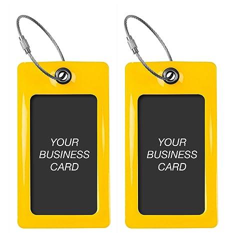 Etiquetas Equipaje TUFFTAAG para Tarjetas de Visita, Flexibles, Regalos de Viaje (Amarillo)
