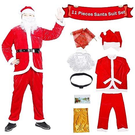 C-Oral Disfraz de Papá Noel para Adulto (11 Piezas), Costume Santa Claus, Traje de Santa, Muy cómodo. (Rojo)