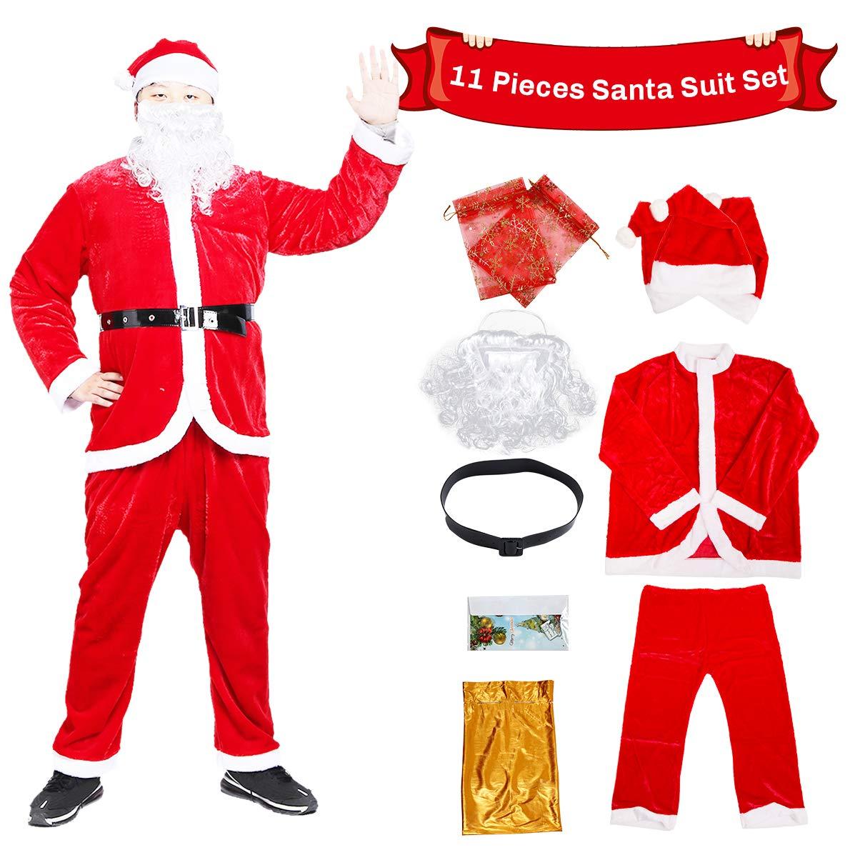 Santa Claus Costume Christmas Santa Suit Plush Santa Costume for Men Adult