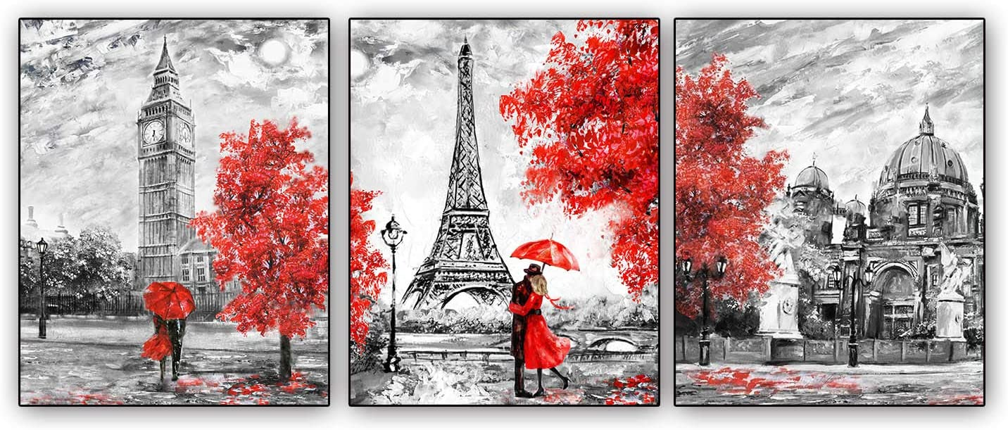 Art Painting Paris Posters Set of 3 White Black Red Paris Theme London Big Ben Tower Eiffel Tower Wall Art Decor for Girls' Bedroom Unframed 8x10inches