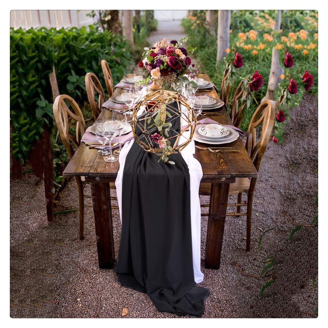 SoarDream 10 Pieces of 27x120 Inches Chiffon Table Runner Black Chiffon Holiday Table Runners Perfect for Home Decoration Banquet Hall Wedding Table Decor