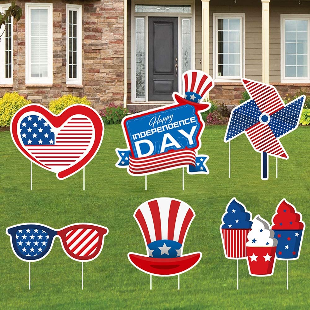 4th of July Yard Sign with Stakes Independence Day Outdoor Decorations, US Flag Design Cupcake Windmill Hat, Lawn Garden Party Outdoor Decorations Stake, Large Waterproof Party Decor Signs Set of 6