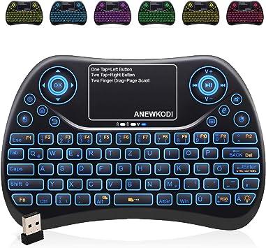 Anew Mini teclado Wireless con TouchPad, Smart TV Teclado Mando a distancia, 2.4 GHz Wireless Backlit QWERTY Mini teclado iluminado para HTPC, IPTV, ...