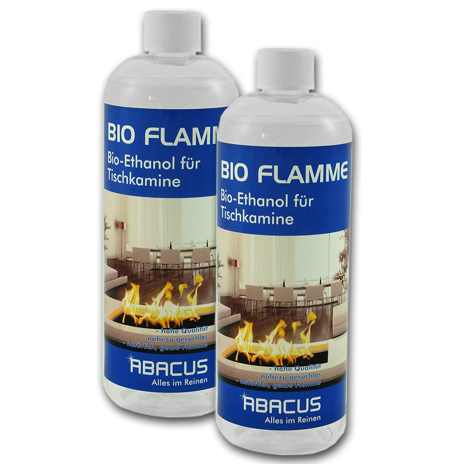 Bio Flame 2X 1000 ml (7070) – Bio Alcohol Fuel Alcohol Burner Alcohol Methylated Spirits Alcohol Lamp Fuel Bio-Ethanol for Tischkamine – Abacus