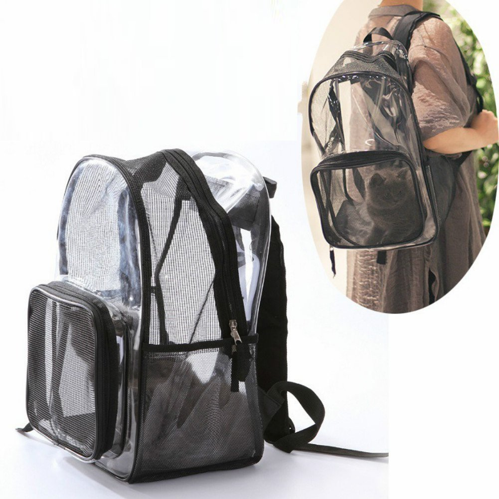 Chicdog Cat Carrier Backpack Cat Carriers for Small Medium Large Cats Transparent Small Dog Carrier Rabbit Bird Soft Pet Carrier Bag Portable Breathable Small Dog Bag Teddy Shoulder lift 30CM/40CM