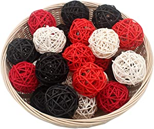 """Set of 15 Mixed Black Red White 2"""" Small Decorative Wicker Rattan Balls Natural Sphere Orbs for Vase Bowl Filler Christmas Tree Ornaments Wedding Centerpieces Home Patio Garden Hanging Decoration"""