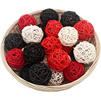 Set of 15 Mixed Black Red White 2″ Small Decorative Wicker Rattan Balls Natural Sphere Orbs for Vase Bowl Filler Christmas Tree Ornaments Wedding Centerpieces Home Patio Garden Hanging Decoration