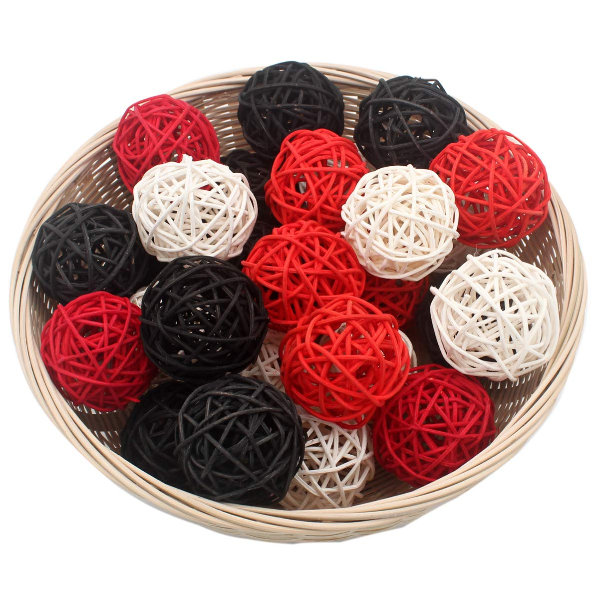 "Set of 15 Mixed Black Red White 2"" Small Decorative Wicker Rattan Balls Natural Sphere Orbs for Vase Bowl Filler Christmas Tree Ornaments Wedding Centerpieces Home Patio Garden Hanging Decoration"