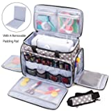 Luxja Sewing Machine Carrying Bag with Removable Padding Pad, Travel Case for Sewing Machine and Accessories (Fit for Most Standard Sewing Machines), Gray Dots (Bag Only) (Color: Gray Dots, Tamaño: Bag for sewing machine)