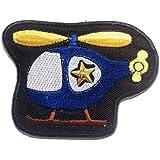 Ecusson - hélicoptère enfants - bleu - 8x6.2cm - patches brode appliques embroidery thermocollant