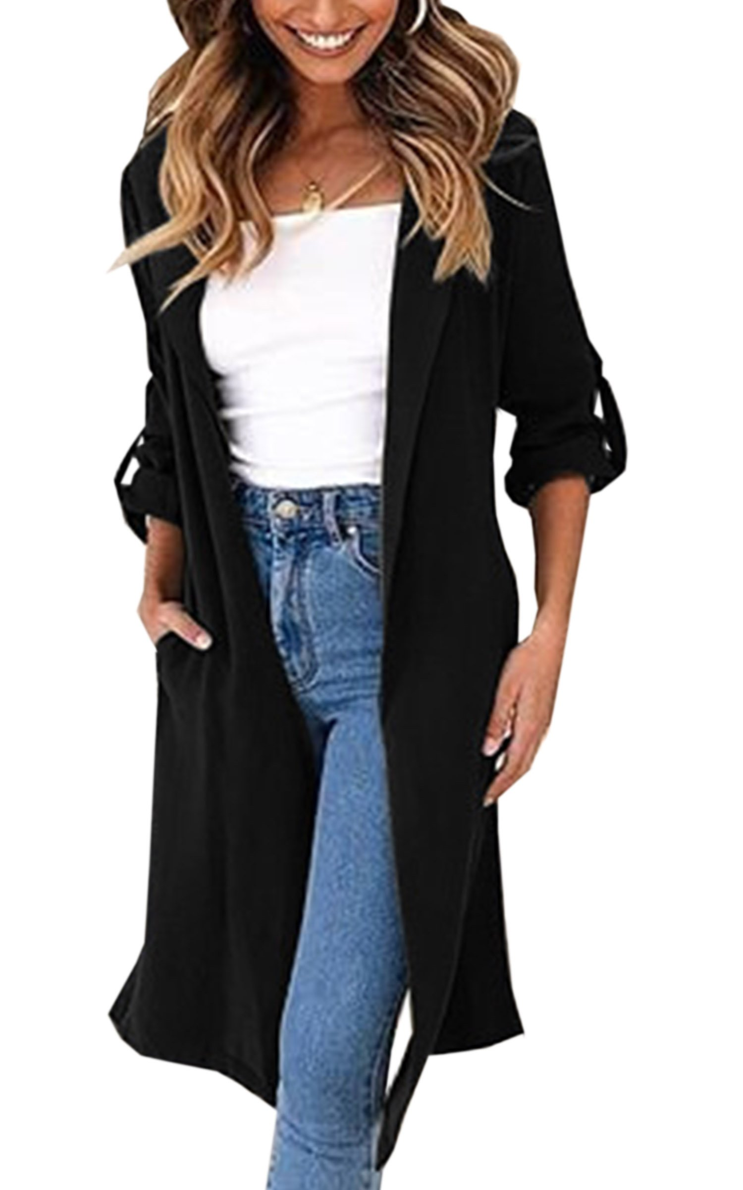 Angashion Women's Lapel Long Roll-up Sleeves Open Front Lapel Long Cardiagn Trench Coat Tops with Pockets Black L