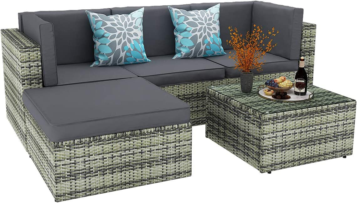 YITAHOME 5 Piece Patio Furniture Sets All-Weather PE Rattan Wicker Sectional Outdoor Sofa Set Patio Conversation Set with Ottoman, Glass Table and Cushions, Gray Gradient