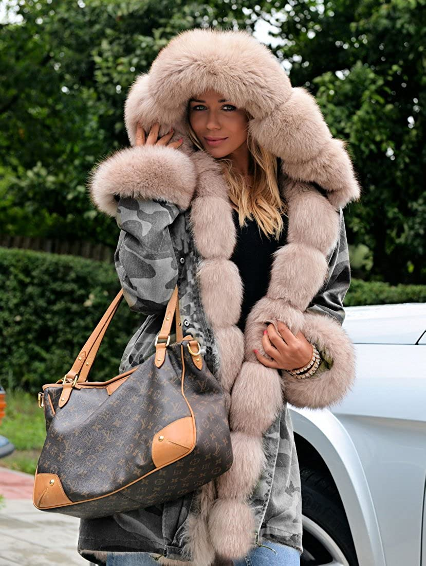 Aofur Manteau Femme Chaud Parka Hiver Fourrure avec Capuche Militaire Style Manteaux dhiver Parka Outwear
