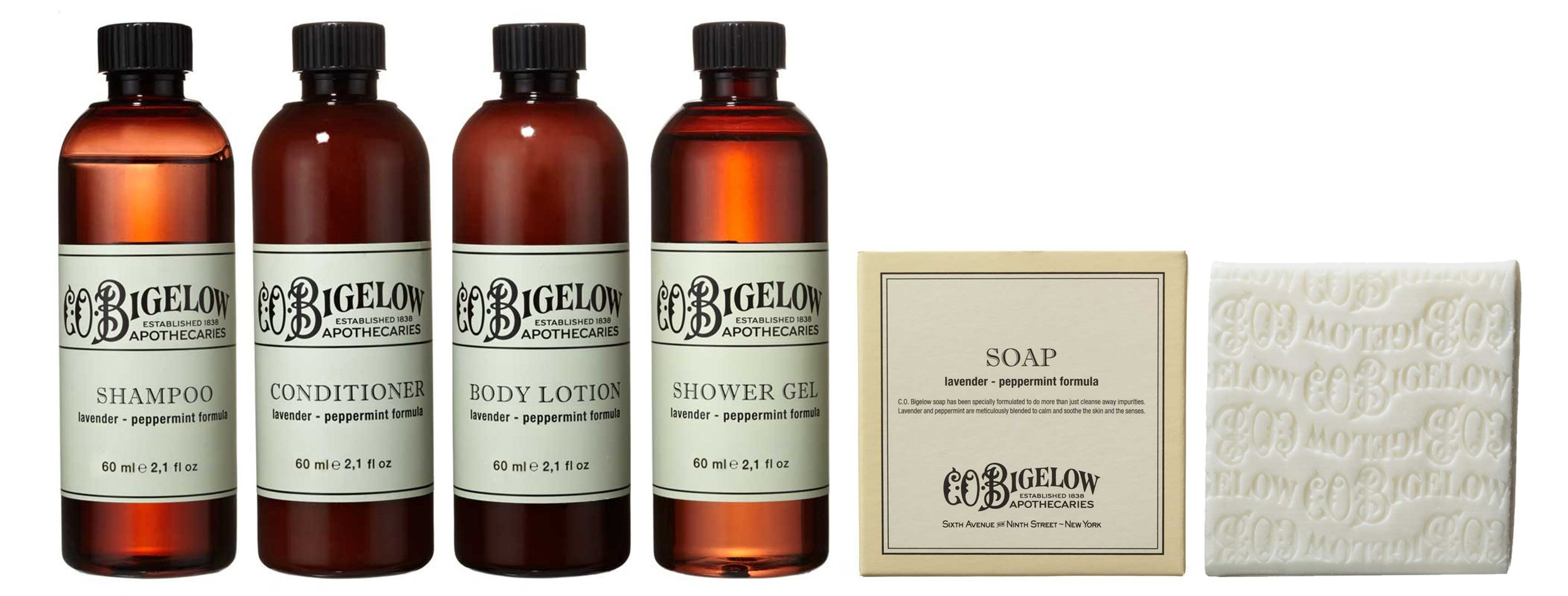 CO Bigelow Amenities Travel Set -Shampoo, Conditioner, Shower Gel, Lotion (2 oz) Body Soap (3.5 oz) In Clear Travel Pouch
