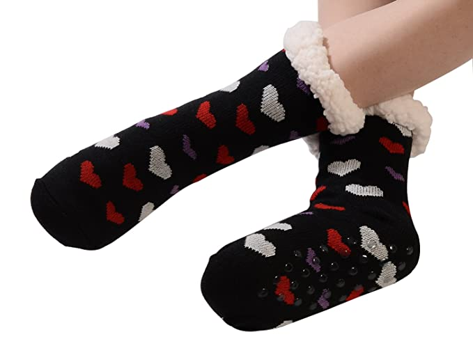 WYLSY-UK - Calcetines de estar por casa - para mujer Snowflake Black Talla única