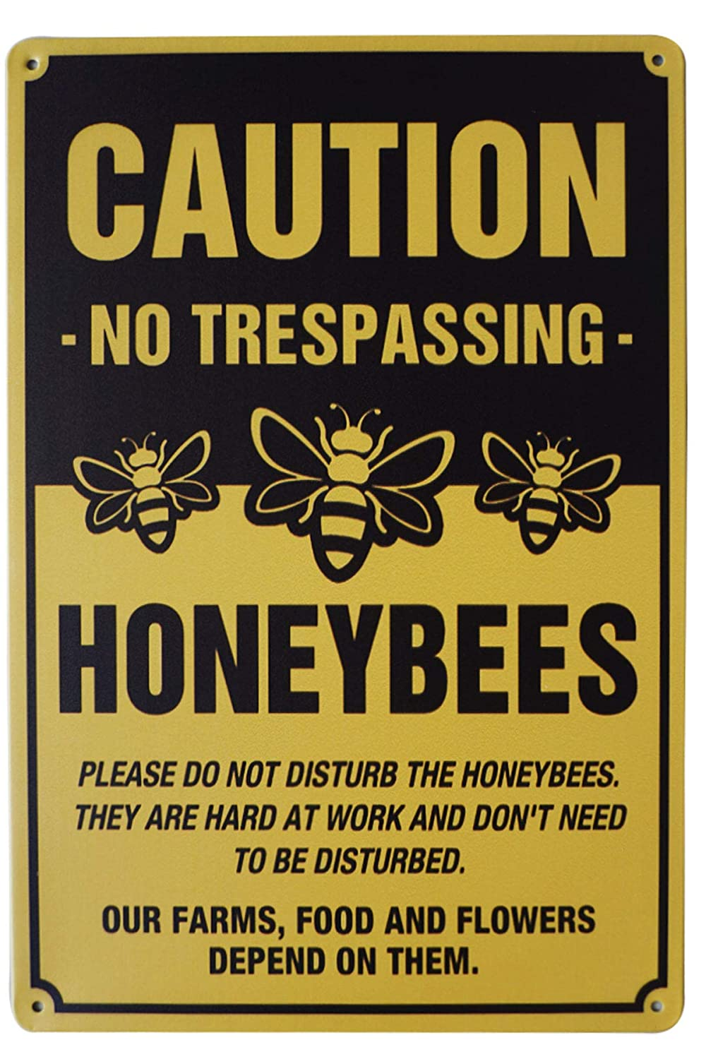 LASMINE Novelty Animal Signs Caution No Trespassing Honeybees at Work Sign for Garden Farm Orchard Garage Home Decor Outdoor Signs 8X12 Inch