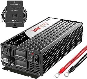 Xijia 2000W (Peak Power 4000W) Pure Sine Wave Inverter DC 24V to AC 120V 60HZ Solar Converter for Home Use car (DC24V (Range 20V-30V) 2000W)