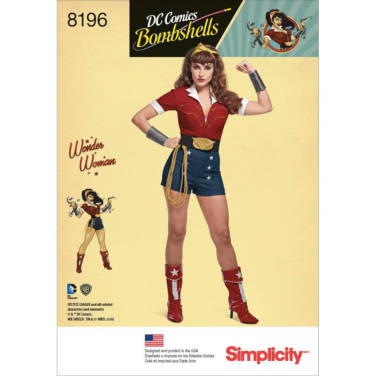 White 22.17 x 15.17 x 1.17 cm 6-8-10-12-14 Simplicity Pattern 8196 H5 Womens D.C Paper Comics Bombshells Wonder Woman Costum