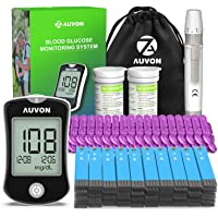 AUVON DS-W Blood Sugar Kit (No Coding Required), High-Tech Diabetes Blood Glucose Meter with 100 Test Strips, 50 30G Lancets, Lancing Device