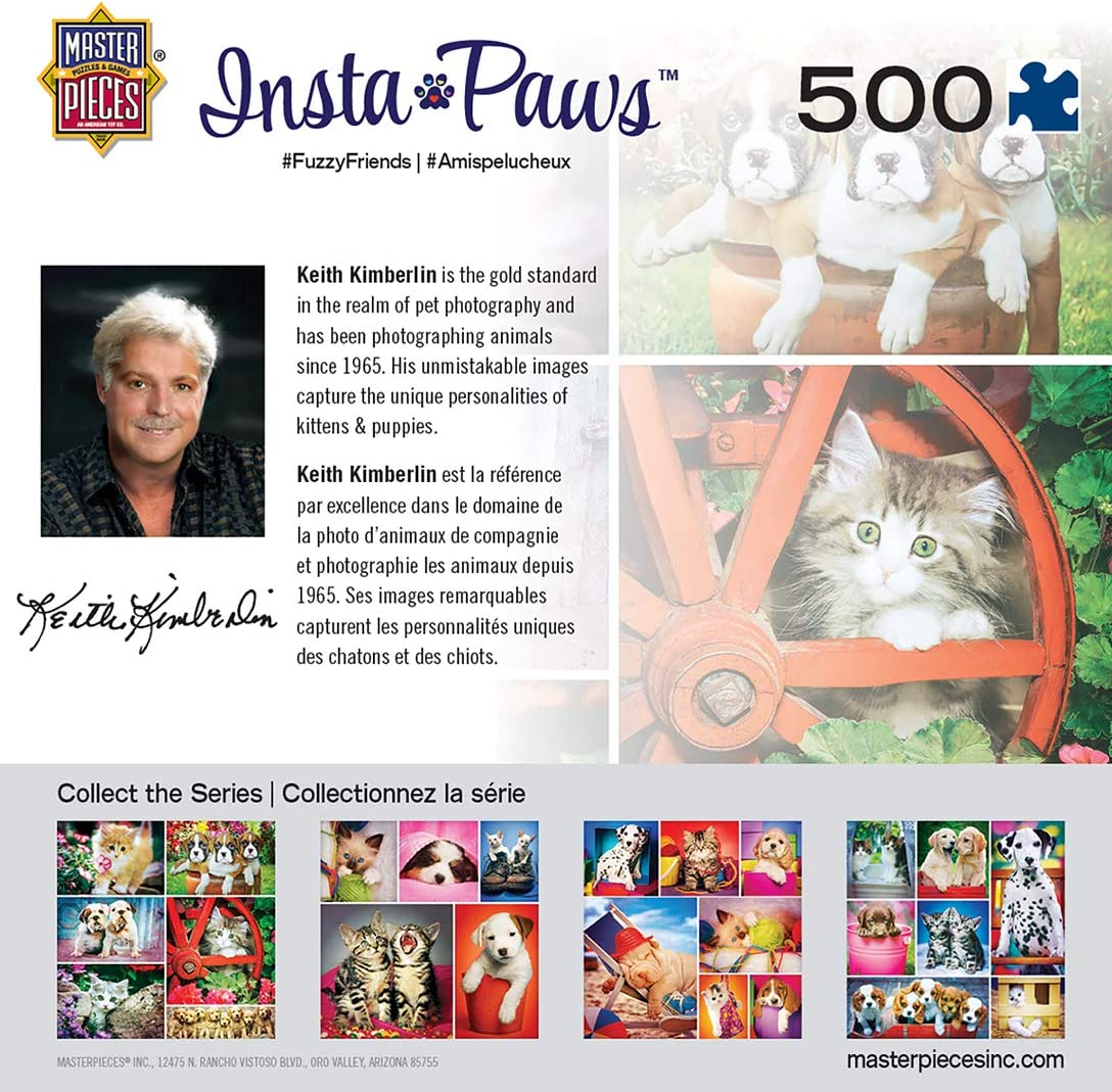 MasterPieces Instapaws #FuzzyFriends 31602 Puppies /& Kittens 500 Piece Jigsaw Puzzle by Keith Kimberlin Masterpieces Puzzle Co