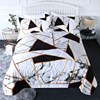 BlessLiving 3 Piece Marble Comforter Set with Pillow Shams 3D Printed Designs Reversible Comforter Twin Size Bedding Sets Soft Comfortable Machine Washable, Black White Gold Geometric Triangle