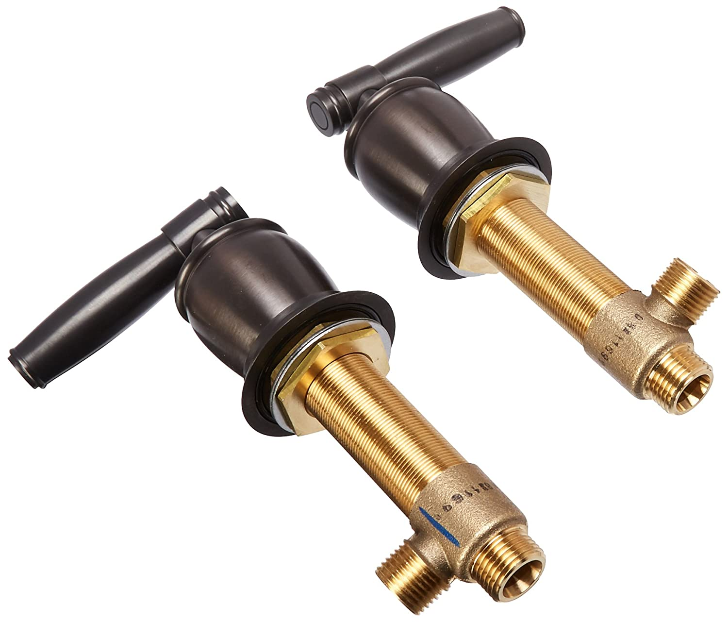 Rohl R9458426TCB Michael Berman Pair of Complete Side Valves Including Upper and Lower Shroud Escutcheons with Metal Levers in Tuscan Brass with 1//2 Quarter Turn Trumbull Industries