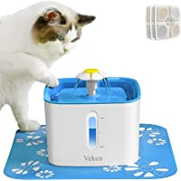 Veken Cat Water Fountain, 84oz Automatic Pet Water Fountain Dog Water Dispenser with 3 Replacement Filters & 1 Silicone…