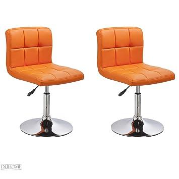 Lot De 2 Chaise De Salle A Manger Orange En Similicuir Reglables En