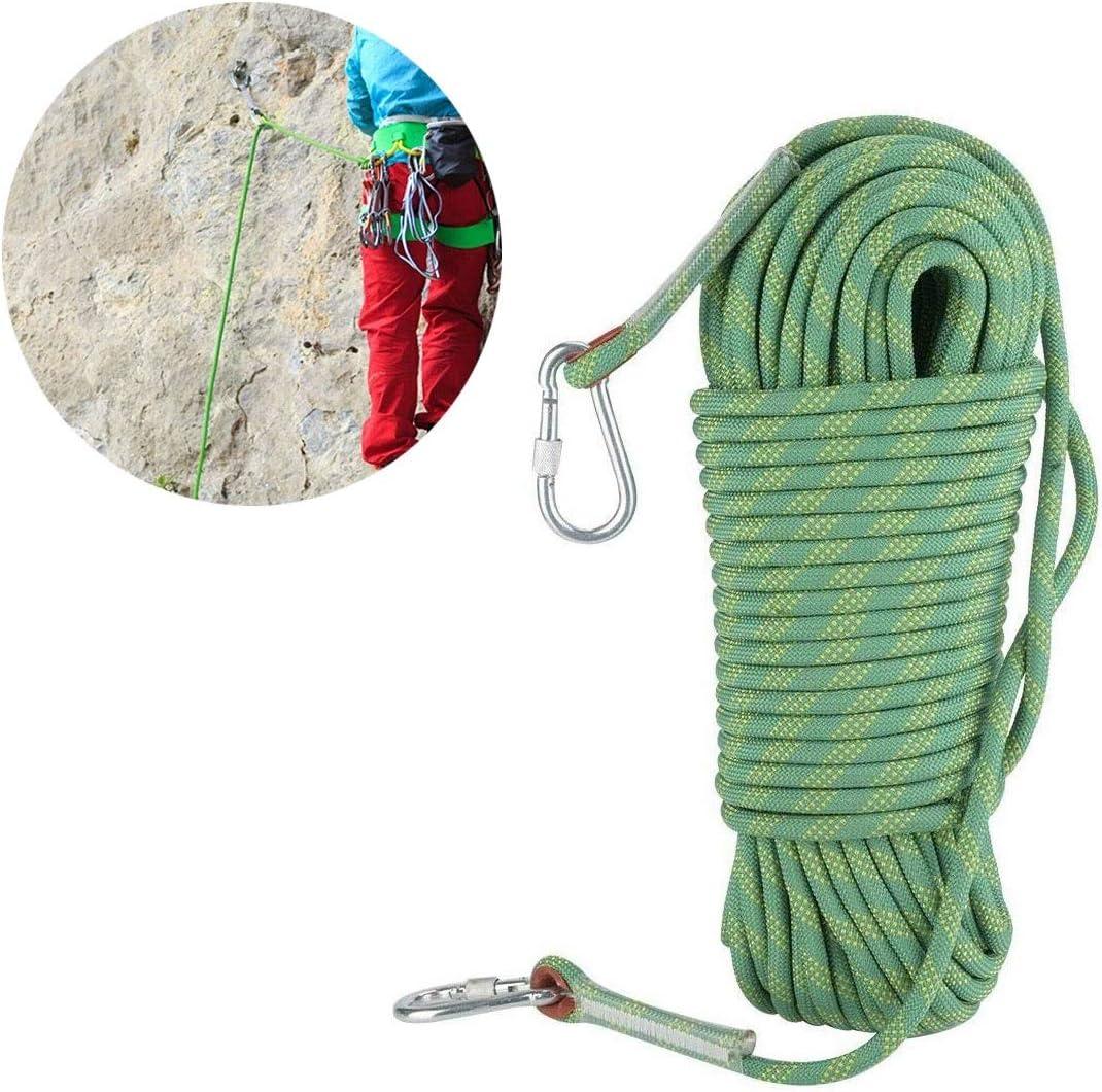 安全ロープ静電ロープアウトドア静的ロッククライミングロープ 静的ロッククライミングロープ、屋外安全ロープ、ハイキングロープ、カラビナ付き家族火災緊急脱出ロープ、直径10mm 12mm キャンプレスキュー安全ロック付きの太いロープ (Color : 10mm, Size : 100m)