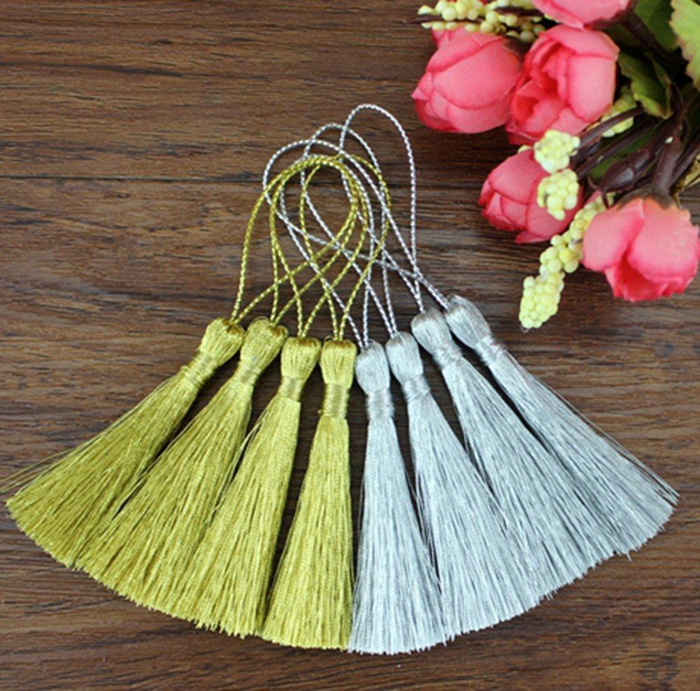 Milopon Tassels Bookmark Tassels Soft Tassels for Art Craft Decoration Silver and Gold 30pcs
