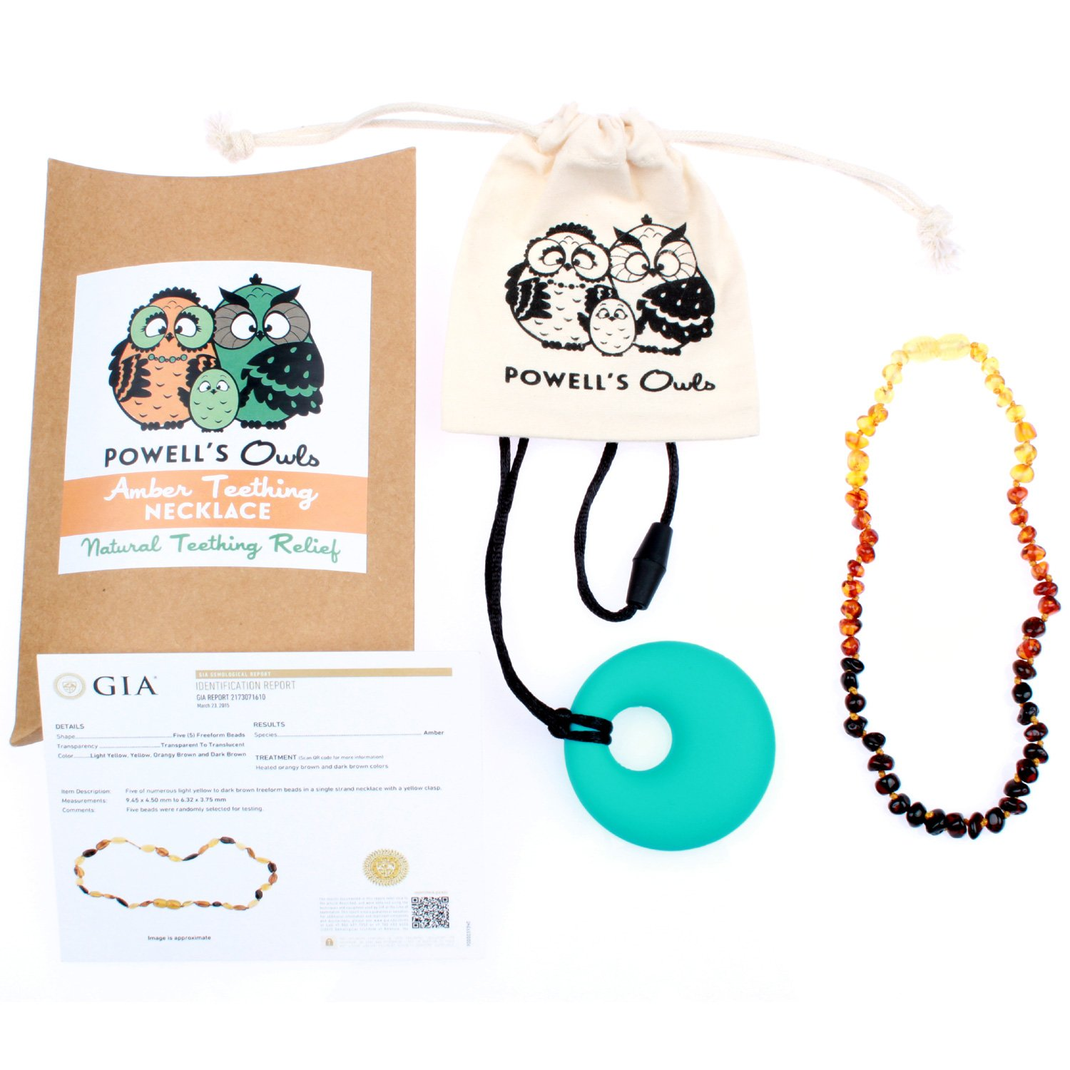 Baltic Amber Teething Necklace - Handmade in Lithuania - Lab-Tested Authentic - Comes with Silicone Teething Pendant (12.5 inches - Standard, Baroque Rainbow) Powell' s Owls 32cmBaroqueRainbowNecklace