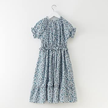 XIU*RONG Los Niños Vestido Floral Femenino Vestido De Verano Azul 130Cm