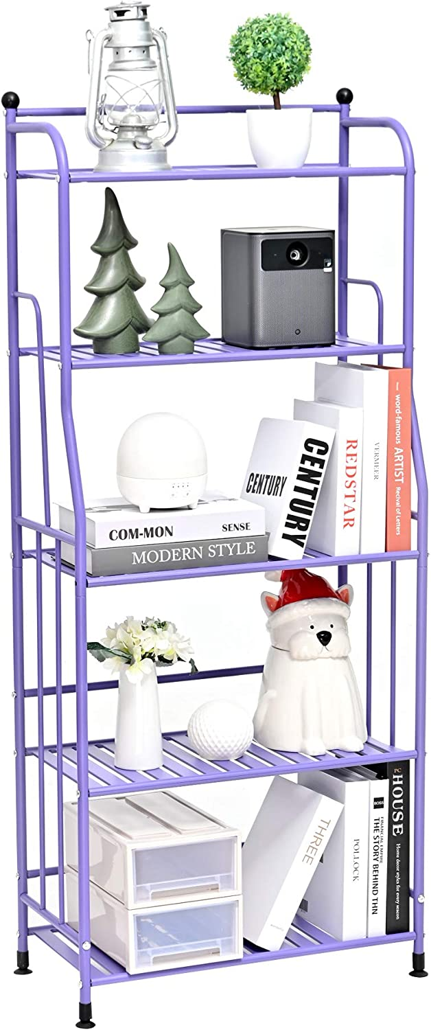 EXQ 5-Layer Metal Iron Sheet with Strong Load-Bearing Multi-Function Storage and Storage Rack Matte Purple (21.85Lx11.41Wx52.75H)