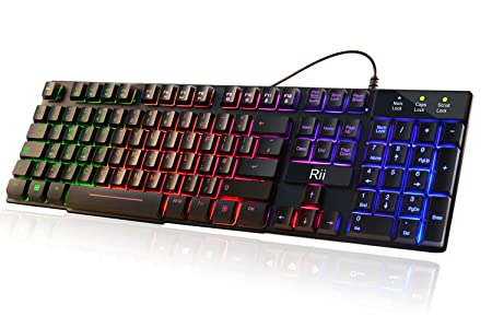 Rii Rk100+ 7 Color Rainbow Led Backlit Mechanical Feeling USB Wired Gaming Keyboard Black UK Layout